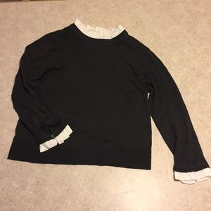 WOMEN'S 14TH & UNION PETITE CHARCOAL GRAY SWEATER